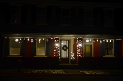 A holiday decorated house on the 300 block of Front Street in New Berlin.
