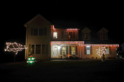 A holiday decorated house on the 400 block of Hazel Street in New Berlin.