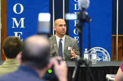 Penn State head football coach James Franklin talks during a press conference at a Coache's Caravan tour stop at Penn College in Williamsport on Tuesday.