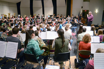 District band members rehearse on Thursday at the Milton High School.