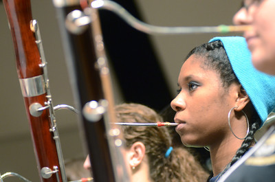 Shamokin High School student Shannon Levi plays her Bassoon during the District Band rehearsal on Thursday at the Milton High School.