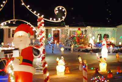 A house is decorated for the Christmas season on Kratzer Road outside of Sunbury on Wednesday evening.