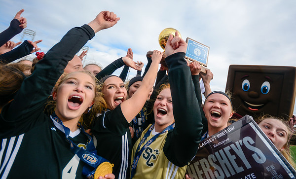The Southern Columbia girls soccer team celebrates with the state championship on Friday in Hershey.