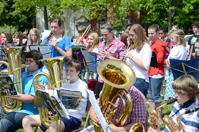 Members of the Selinsgrove Middle School band perform during a re-dedicating ceremony for the monument of Gov. Snyder in Selinsgrove on Monday.