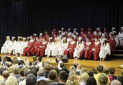 The Millersburg Class of 2013 fills the stage at the high school during Wednesday night's commencement.