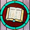 A Bible on the stained glass at Catawissa Avenue United Methodist Church.