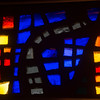 Detail of a more modern stained glass window at Zion Lutheran Church.