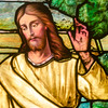 The depiction of Jesus during the resurrection in the stained glass window at Otterbein United Methodist Church.
