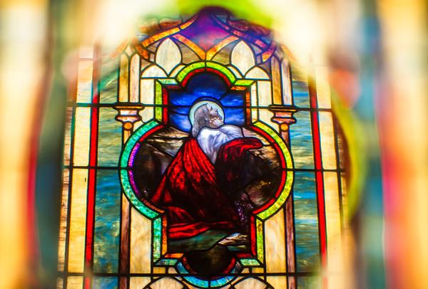Jesus praying at a mountain side at Zion Lutheran Church.