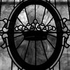 A crown on a window at First Baptist Church.