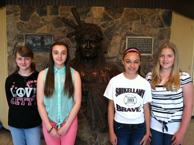 Photo provided Members of Shikellamy Middle School's Stock Market Game team are seventh-graders Makayla Shaffer, Riley Barrett, Alexandra Delgado, Hanna Zimmerman. They are advised by  Debbie Zweier.