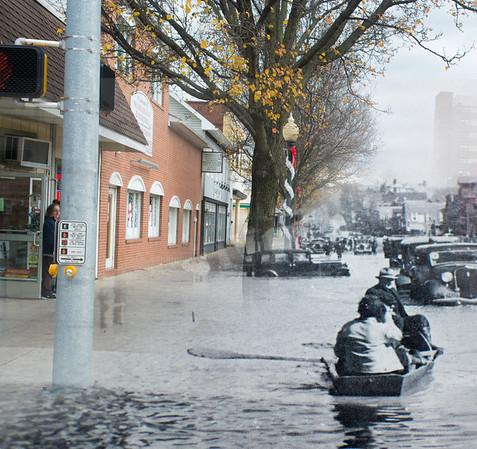 Market Street in Sunbury during the 1936 flood.