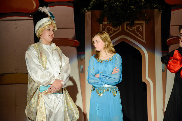 Robert Inglis/The Daily Item  Lourdes students .... and Nastissja Lapotsky rehearse their parts for their production of Aladdin Jr.