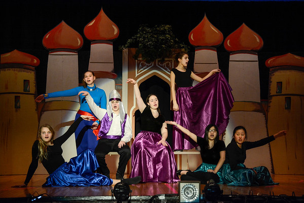 Robert Inglis/The Daily Item  Lourdes High School students rehearse for their production of Aladdin Jr.