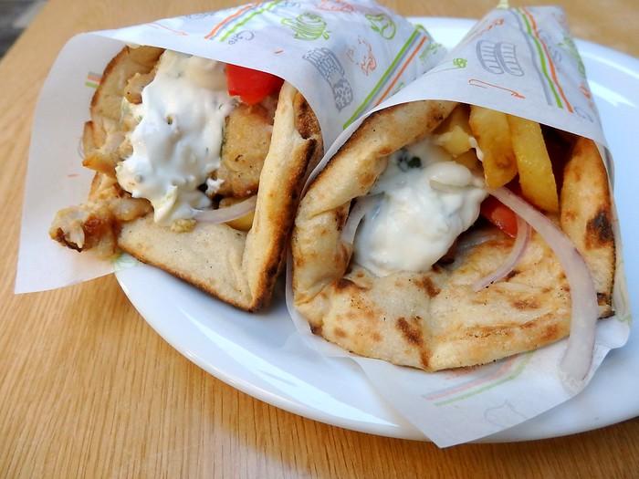 Greek Street Food - gyro and souvlaki - wraps in Athens, Greece