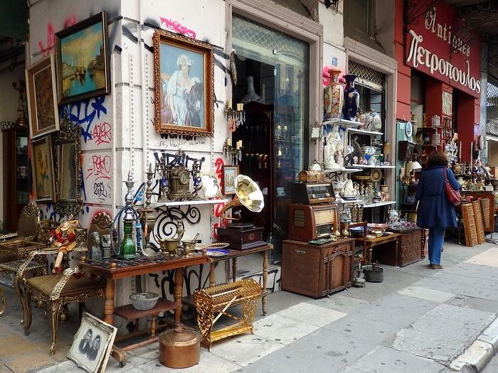 Monastiraki Flea Market vintage shops with souvenirs and trinkets in Athens, Greece