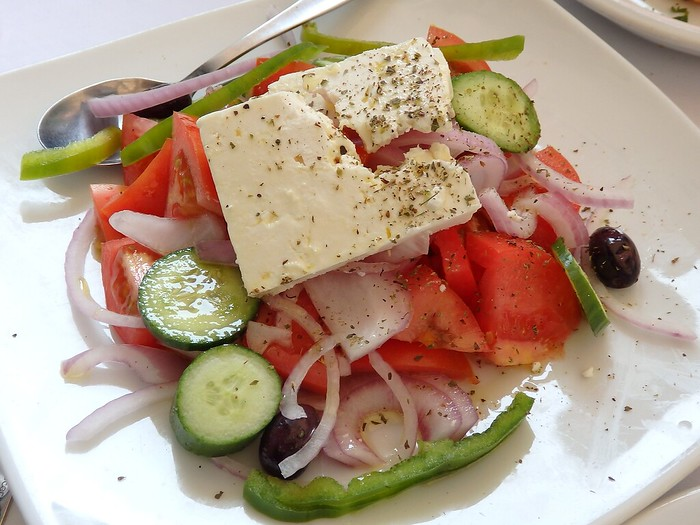 Greek salad for lunch at a restaurant in Athens, Greece