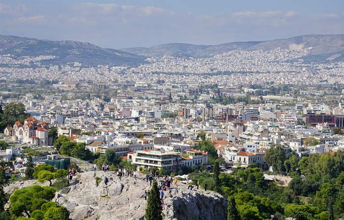 Views of Athens from the Acropolis in Greece