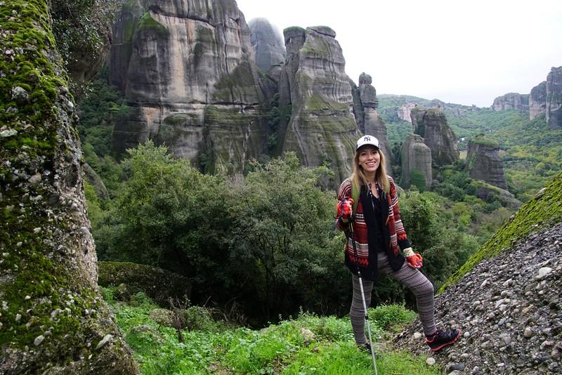 Hiking in Meteora to reach abandoned monasteries
