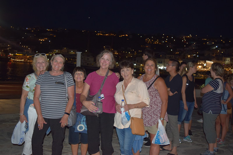 After a fantastic evening in Mykonos ... Patsy, Liz, Patty, Jen, Faye and Traci