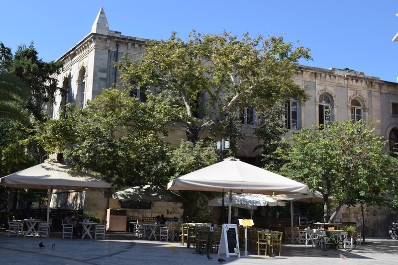 These old historic buildings add to the serenity of these outdoor cafes that are all over this port city of Crete