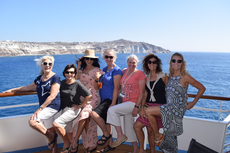 Another Queen's  pose with Santorini in the background.  Smiles are courtesy of Patsy, Patty, Therese, Jen, Liz, Kerri and Patti