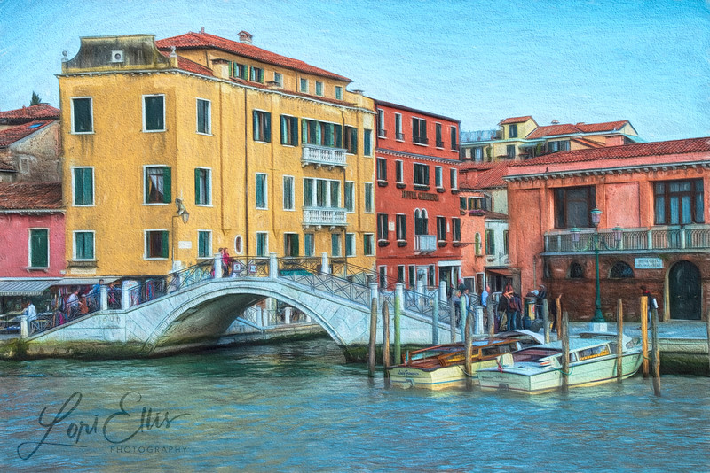 Busy Footbridge on the Grand Canal in Venice