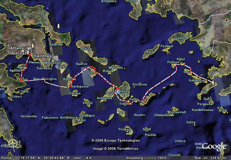 The path of the Ionia, from KOS to Athens.  Thanks Larry!