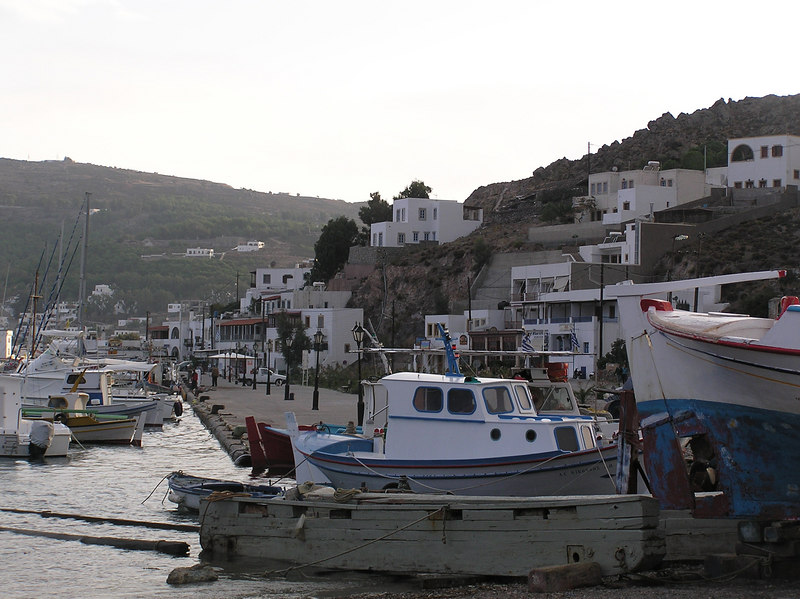 Marina and fishing boats.  Bank of Greece is the closest building.