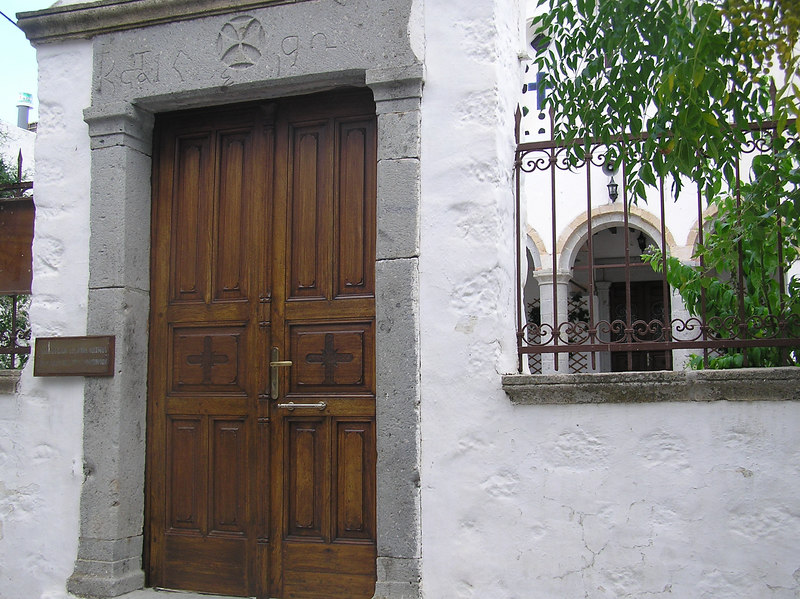 Door to church and possibly school.