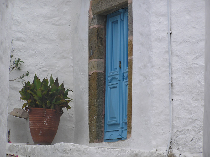 Art.  Traditional Greek blue