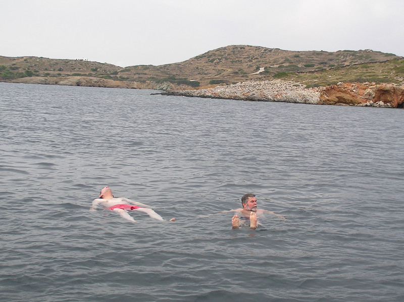 Island of Lipso. North of Leros and east of Patmos. <br /> Stopped for our first lunch and swim.  <br /> Hey, Larry.  look at that.  Hey, are you asleep?