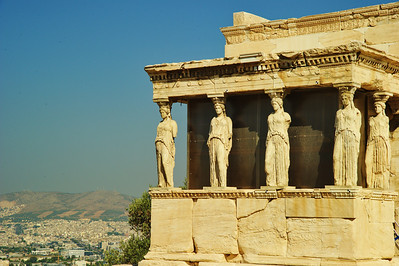 The Caryatides, part of the Erechtheion in the south Portico of the Caryatides or Maidens; six statues of beautiful girls of outstanding craftsmanship