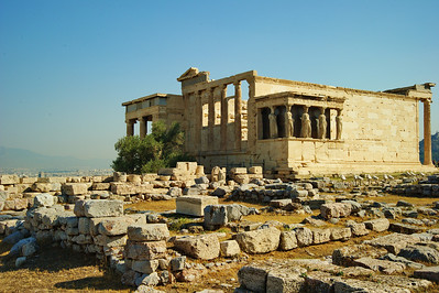 The Erechtheion Area where the oldest and most sacred relics of ancient Athens were found.  Built between 421 BC and 406 BC.