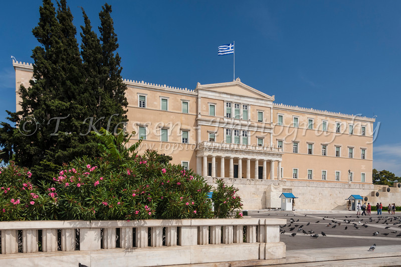 The national parliament buildings of Greece in Athens, Greece.