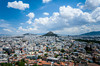 The city skyline and Lykavittos Hill in the center of Athens, Greece.