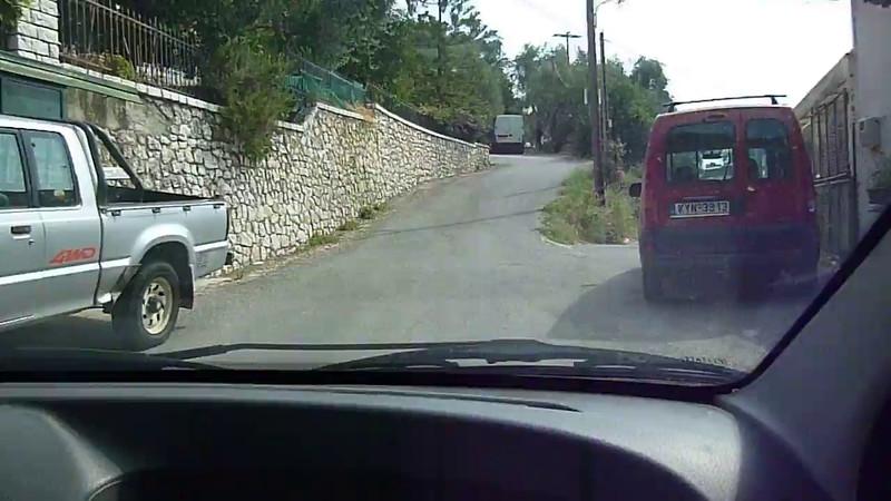 Corfu 2015, villa drive, the road up to our villa at Nissaki.