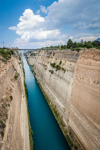 The Corinth canal connects the Saronic Gulf and the Culf of Corinth in Greece.