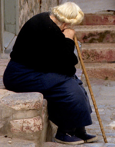 old woman on the island of Hydra 1994