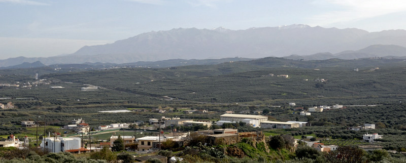 Looking east from west of Kolimbari, Crete, 26 December 2009 2.  The White Mountains can be seen in the distance.