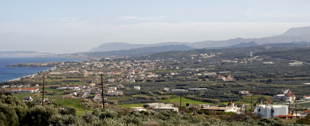 Looking east from west of Kolimbari, Crete, 26 December 2009 1.  Here is the first of three photos showing the Maleme airstrip's hinterland, the scene of fierce fighting in 1941.  The views are arranged left to right.