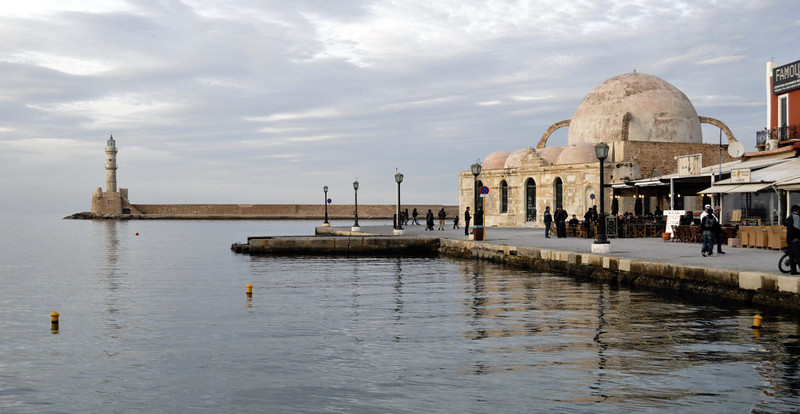 Lighthouse and the mosque of Kioutsouk Hasan, Chania, Crete, Christmas Day 2009