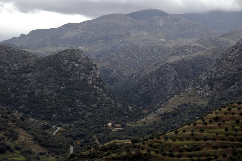 Looking south from Polirinia towards the Tsichliano Gorge, Crete, 23 December 2009