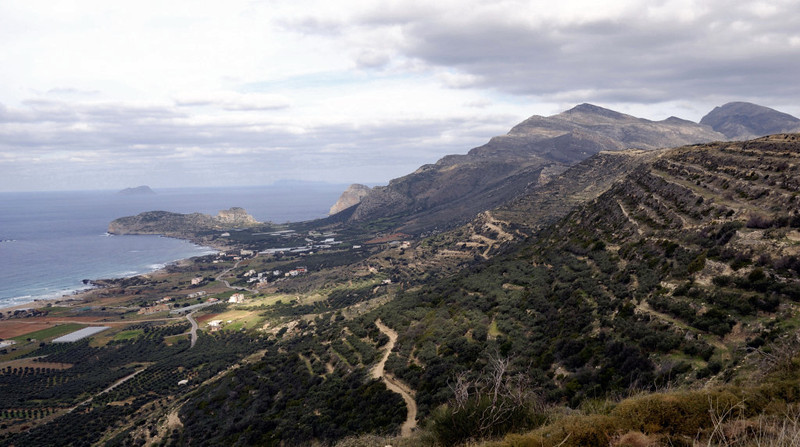West coast of Crete, 22 December 2009 2.     Looking north from near Falasarna.  The hills in the distance at right are on the Gramvousa Peninsula, on the western side of Kisamos Bay.  The site of the ancient port of Falasarna is in the middle distance at left.