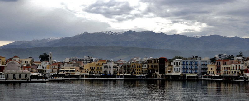 Looking south over the outer harbour towards the White Mountains, Chania, Crete, Christmas Day 2009