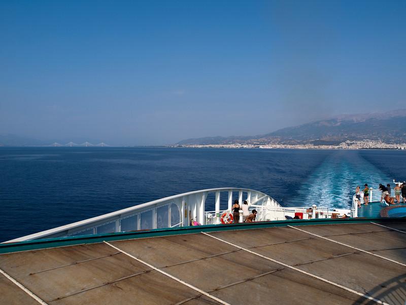 "Rio-Antirio bridge, Patras, and deck of FB ""Hellenic Spirit""<br /> <br /> E-420 & Zuiko 12-60/2.8-4.0"