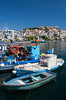 Colorful fishing boats at the port of Kavala, Greece.