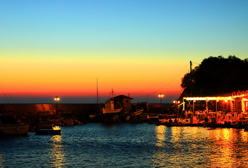 Sunset at Molyvos harbour