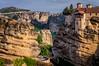 The monasteries of Moni Agiou Nikolaou Anapafsa and Moni Agias Varvaras Rousanou in the Meteora region of Greece.
