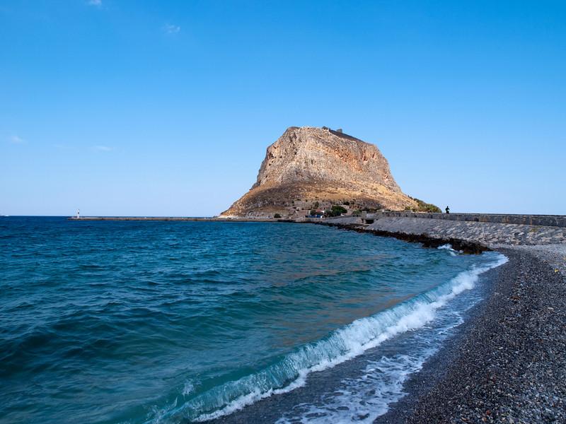 rock of Monemvasia, as seen from Gefira, Lakonia, Greece<br /> <br /> E-420 & Zuiko 12-60/2.8-4.0
